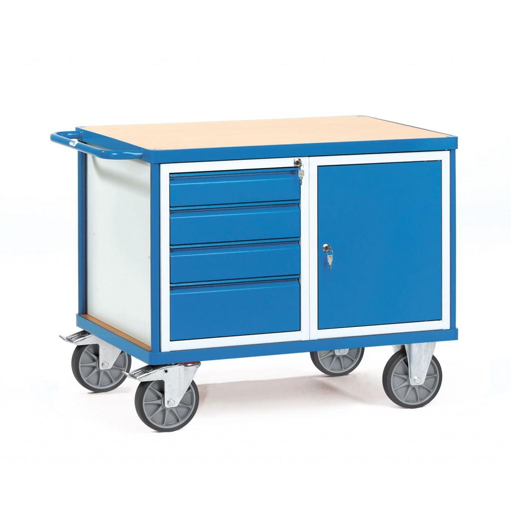 tischwagen mit verschlie barem schrank oder schubladen bartels online shop. Black Bedroom Furniture Sets. Home Design Ideas