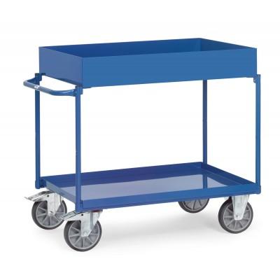 Tischwagen mit 2 Stahlblechwannen mit horizontalem Schubbügel