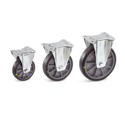 Elektrisch leitfähige Lenk- und Bockrolle aus thermoplastischen Elastomer Ausführung | Bockrolle TPE-ESD