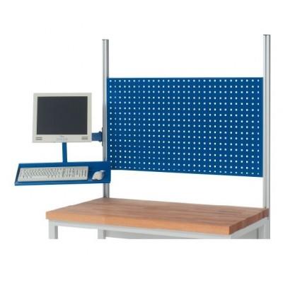 Schwenkarm für Flachbildschirm mit Tablar für System-Aufbauten