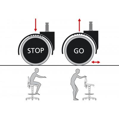 Sitz-Stopp-Rollen für Arbeitsdrehstuhl Unitec