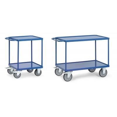 Schwerer Tischwagen mit Stahlblech-Wannen mit 10 mm hohem Rahmen