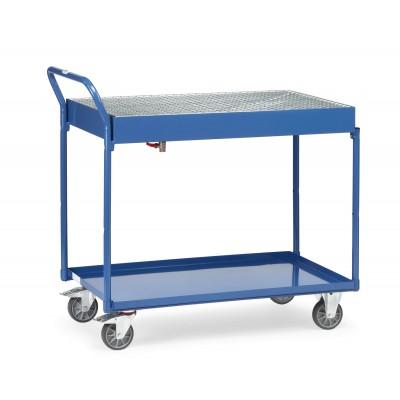 Tischwagen mit Stahlblechwannenmit Gitterrost und Ablasshahn