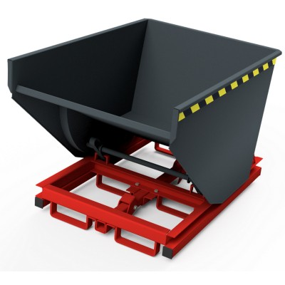 Selbstkipper mit automatischer Auslösefunktion - mit Palettenunterbau, Traglast bis 3.000 kg