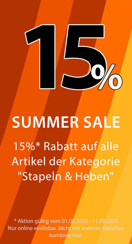 15% Rabatt auf Stapeln & Heben