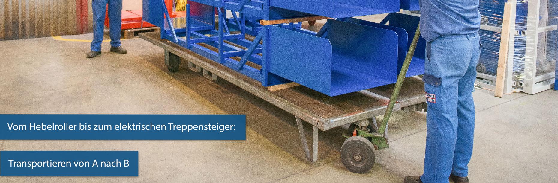 Wir liefern Ihnen diverse Hilfsmittel für den innerbetrieblichen und externen Transport von Materialien, Paletten, Waren oder Maschinen.